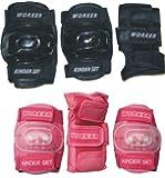 Worker - Set di protezioni roller per bambini, colore: rosa, misura: M, 130-155 cm