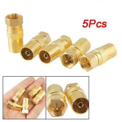 SODIAL(R) - Set di adattatori jack, connettori RF coassiali, tipo F (maschio), 5 pezzi