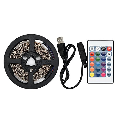 Led Strip USB 5050RGB Led Lichtband Led Band Led Strip TV Back Lampe Farbwechsel + Fernbedienungmit Led Beleuchtung für Fahrzeug/Fahrrad/Haus Deko (50CM)