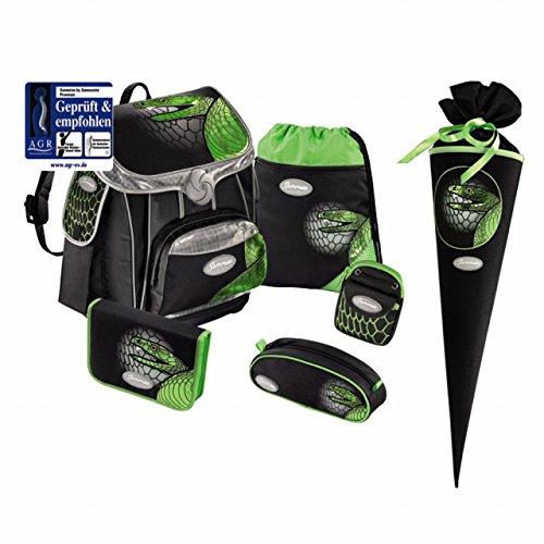 Sammies Premium - Schulranzen Set 5 tlg. + kostenlose Schultüte - Green Mamba