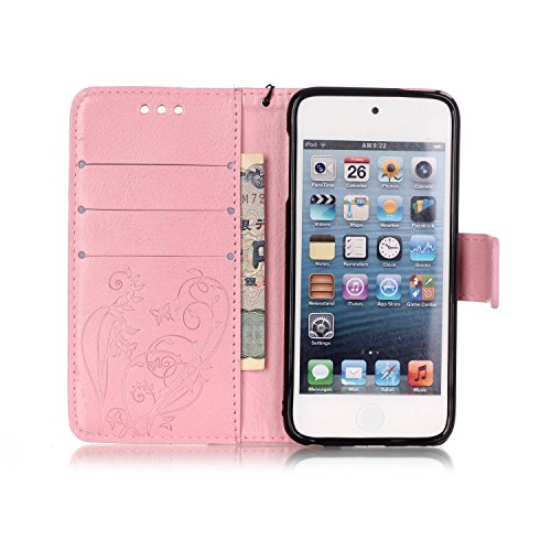 Qiaogle Téléphone Coque - PU Cuir rabat Wallet Housse Case pour Apple iPhone 6 Plus / iPhone 6S Plus (5.5 Pouce) - YB07 / Fashion Bleu & Flower YB04 / Fashion Pink & Flower