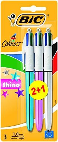 Bic 4 Colour Shine Kugelschreiber, 2er-Pack plus 1 Stück gratis,farblich sortiert