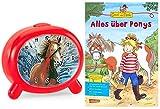 Atlanta Kinderwecker Mädchen Pferde mit Lernbuch Conni Buch Alles über Ponys - 1183-1P BU