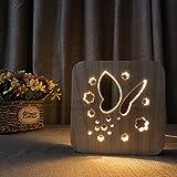 Wallfia Schmetterling 3D Nachtlichter Massivholzlichter Deko Licht Babylichter USB Power Tischlampen Mädchen Schlafzimmer Deko Licht Geschenke