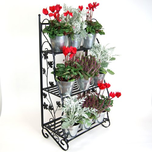Plant theatre herb and flower stage metal classic design - black