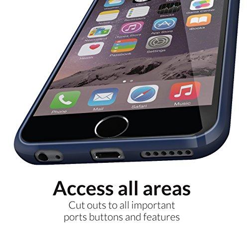 Orzly® FUSION Bumper Case für Apple iPhone 6 & 6S (4.7-Zoll Modell 2014 & 2015 Version) - Schutz Hard Cover mit stoßabsorbierenden Gummi SCHWARZ Rim und Voll Transparente Rückseite BLAU Fusion für iPhone 6 & 6S
