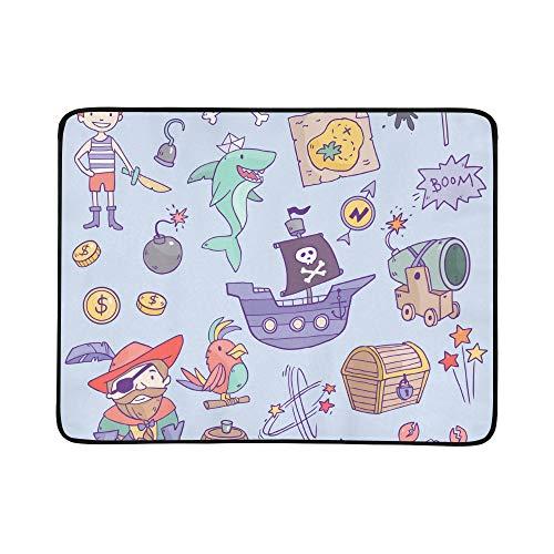 KAOROU Netter Pirat und Haifisch im Seemuster tragbare und Faltbare Deckenmatte 60x78 Zoll handliche Matte für kampierenden ()