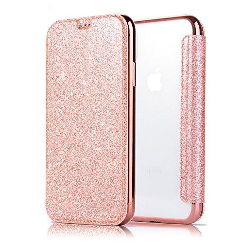 Apple iPhone X Handyhülle,iPhone X Hülle,WIWJ PU Cover Case Leder Flip Wallet Schutzhülle[2 in 1 Glitzer TPU+Leder Kasten]Hülle für iPhone X-Roségold