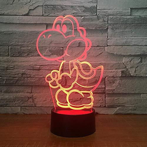 CYJQT 3D Nachtlicht Für Kinder Yoshi Led Usb Licht Cartoon Spielfigur Super Mario Acryl Neuheit Weihnachtsbeleuchtung Geschenk Rgb Touch Fernbedienung Spielzeug -
