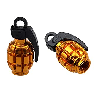 2PCS Grenade Alloy Valve Caps Dust Covers Bike Bicycle MTB BMX Car Tyre (A)