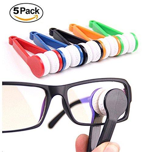 5pcs mini pulitore di occhiali in microfibra, strumento di pulizia spazzola morbida per occhiali da sole, occhiali (colore casuale)