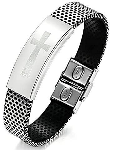 AnaZoz Fashion Jewelry Simple Personality Men's Fashion Stainless Steel Bracelet PU Leather Classic Cross Black 19CM