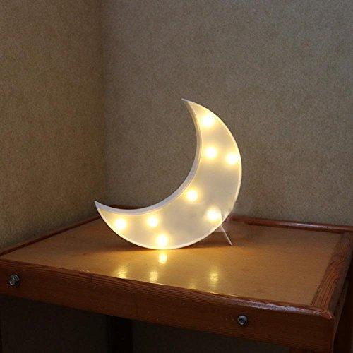 Misslight Kinder LED Nachtlichter Stimmungslicht Einhorn Babyzimmer Dekorationen Tier Multi-Stil Batterie Nacht Licht (White Moon)