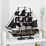 Legno massiccio Nave pirata Semplice mediterraneo Barca a vela Modello Artigianato del legno Stile Europeo Decorazione