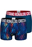 CR7 Cristiano Ronaldo - Fashion - Herren Boxershorts (Trunks) aus Microfaser - 2-Pack - Blau/Mehrfarbig - Grösse Small (CR7-JBS-8502-49-418-S)