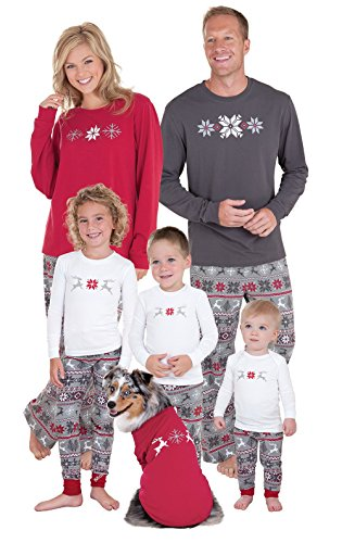 PajamaGram Holiday Nordic Matching Family Pyjamas, Toddler 2T, Red/Grey