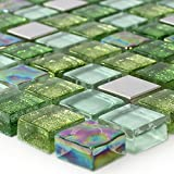 Glas Edelstahl Mosaik Fliesen Grün Mix
