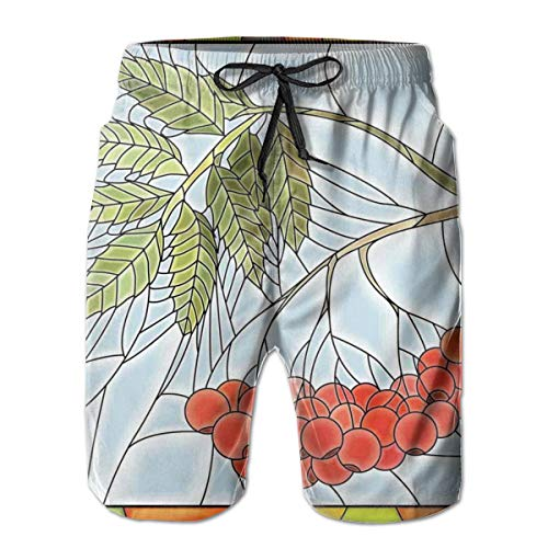 Men Swim Trunks Beach Shorts,Rowan Branch Motif On A Stained Glass Frame Noel Season Berries Winter Theme,Quick Dry 3D Printed Drawstring Casual Summer Surfing Board Shorts L