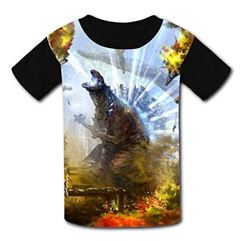 Kmehsv Schwarze Jugend Raglan T-Shirts, God-Zilla Short Sleeve Sports Sweat Tee for Teen Kids Boys Girls -