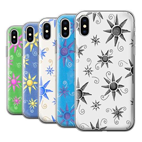 Stuff4 Gel TPU Hülle / Case für Apple iPhone X/10 / Gelb/Weiß Muster / Sonnenschein Muster Kollektion Pack (14 pcs)