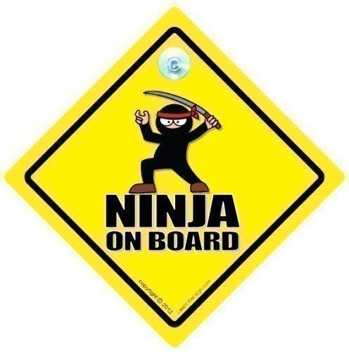 Ninja On Board Autoschild, An Bord Schild, board, Baby Zeichen, Ninja, Aufkleber, Stoßstangenaufkleber, Martial Kunst-zeichen, Schwarz Gürtel-zeichen, Auto Lustiger Joke Schild
