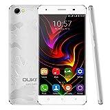 4G Smartphone, OUKITEL C5Pro 5,0 Zoll HD Android 6,0 Dual SIM Free Handy, 2 GB RAM 16 GB ROM und Unterstützung Micro SD-Karte, MTK6737 Quad Core 1.3 GHz, Dual-Kamera (5MP + 2MP) 2000mAh Akku, unterstützt Bluetooth 4.0 GPS und GLONASS Sliver