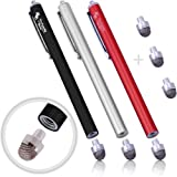 The Friendly Swede Replaceable Tip Hybrid Stylus (3 Pack), Red, Black and Silver