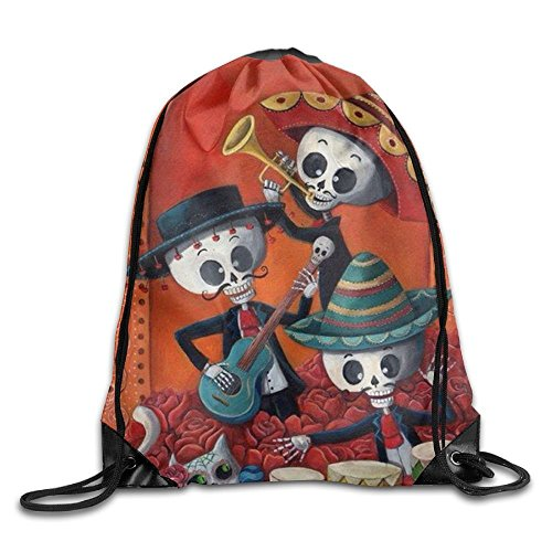 Funny&shirt Sugar Flower Skull Cartoon Teens Drawstring Bag Waterproof String Bags Volleyball