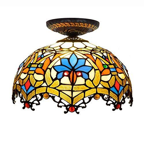 12-Zoll-Tiffany-Stil Barock Deckenleuchte Glasmalerei Deckenleuchte 1 Licht Unterputz Deckenleuchten Mit Handgefertigten Lampenschirm For Wohnzimmer, Schlafzimmer, Flur - Barock Deckenleuchte