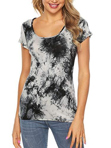 AMORETU Batik T-Shirt für Damen, Tie Dye Shirt, Sommer Rundhals Oberteil, 2-weiß, L/DE 40-42 - Für Frauen Tie-dye-sweatshirt