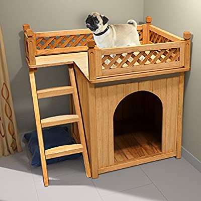 Dog Cat House Wooden Kennel Garden Puppy Outdoor Animal Hide Shelter from Deuba