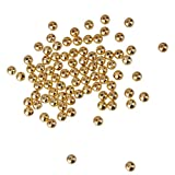 Generic 100pcs Metallischen Runden Abstandskügelchen Für DIY Fertigkeit-Schmuck 4mm Golden Machen
