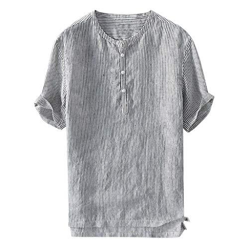 Aoogo Herren Beiläufig Langarm Leinen,Sommer Herren Cool Thin Breathable Stripe Button Baumwollhemd Kurzarm