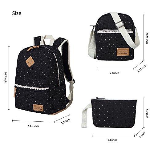 Schulrucksack Mädchen Canvas Rucksack Damen Schul Schulranzen/Schultasche 3 in 1 - 4