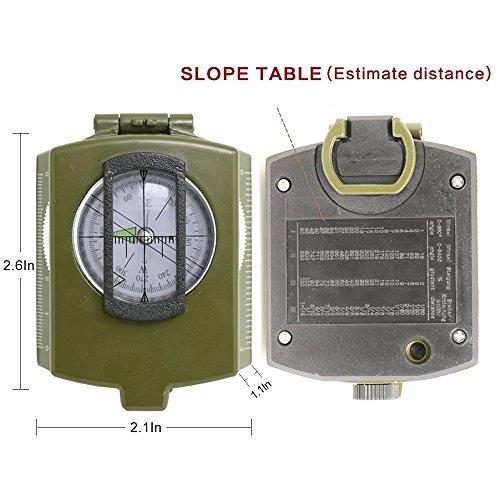 Militär Marschkompass Professioneller Taschenkompass Peilkompass Kompass mit Klinometer Tragschlaufe, Tasche - 6