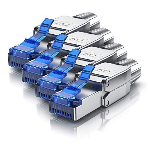 CSL - 4x Netzwerkstecker feldkonfektionierbar RJ45 CAT 6 CAT 7 CAT 8 - geschirmt 40 GBit/s 2000 MHz Ethernet werkzeuglos LAN Kabel - Crimpstecker Steckverbinder für Netzwerkkabel Verlegekabel -
