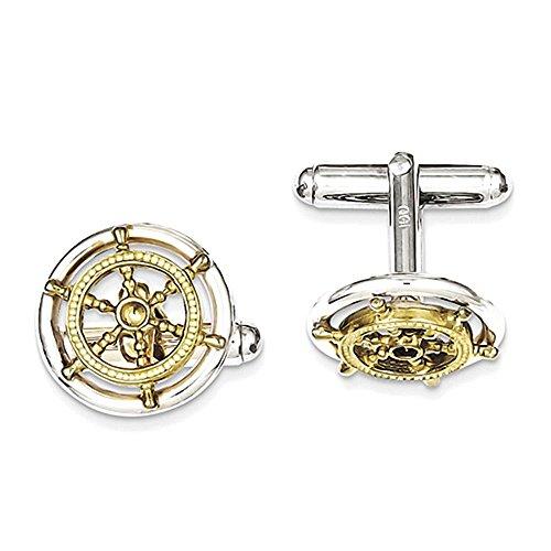 Link Sterling Silver Vermeil Sailor Wheel Cuff