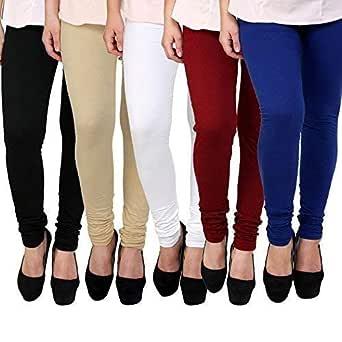 Swastik Stuffs Women's Cotton Lycra Leggings Combo Offer for Women (SSLBSWMBlu5_Black.Skin,White,Maroon,Blue_Free Size)(Pack of 5)