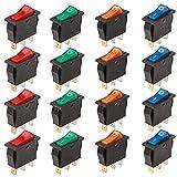RUNCCI 20Pcs 2 pines Interruptor Basculante AC 6A//250V 10A//150V Mini Interruptores Basculantes para Barcos//Coche//Auto Mini barco Interruptor basculante