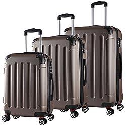 WOLTU RK4204co, Reise Koffer Trolley Hartschale 4 Rollen Volumen erweiterbar, Reisekoffer Hartschalenkoffer Handgepäck M/L/XL/Set leicht & günstig Coffee 3er Set (M+L+XL)