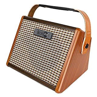 The RockJam Busker, 15Watt Rechargeable Guitar Amp With Bluetooth And Mic Input