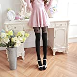 QHGstore Women Sexy Socks Thin Velvet Over Knees Crotch Pantyhose Stocking Tights Black with hearts