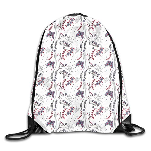 kpacks Bags Daypacks,Floral Hand Drawn Doodle Leaves Wildflowers Colorful Image Ornament,5 Liter Capacity Adjustable for Sport Gym Traveling ()