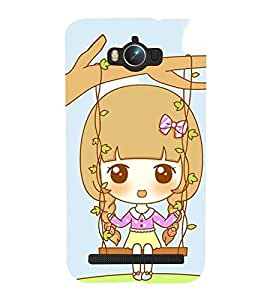 Printvisa Premium Back Cover Animated Sweet Girl On A Hammock Design for Asus Zenfone Max ZC550KL