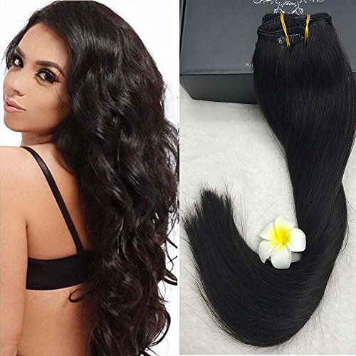 Full Shine Clip-In-Extensions für komplette Haarverlängerung - hochwertiges Remy-Echthaar - 140 g - 24Inch - #1b Natural Colour 9Pcs (Clip Hair Extensions In African)