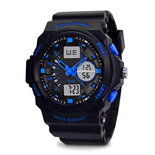TOPCABIN-Swim-Watch-Digital-analog-Boys-Girls-Sport-Digital-Watch-with-Alarm-Stopwatch-Chronograph-50m-Water-Proof-Wristwatch-Blue