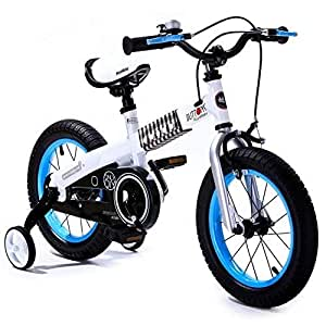 Royalbaby Youth Button girl's boy's freestyle Kids Bike Bicycle, Blue-White, 12""