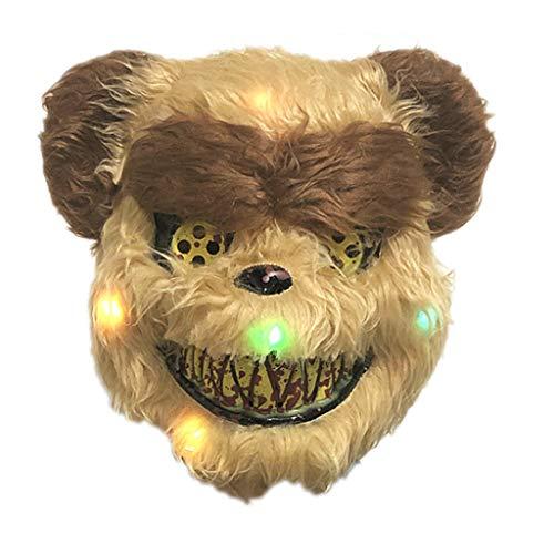 Hut Kopf Kostüm Bear - Besttse Halloween-Maske aus Plüsch, blutiger Kaninchenbär, Maskerade, gruseliges Performance-Gesicht, Kostüm, Erwachsene, Kinder F
