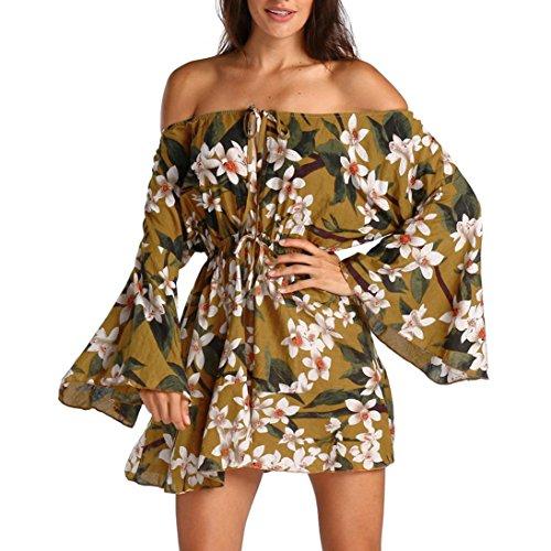 Kleid Damen Elegant Btruely Boho Abendkleid Sommerkleid Strandkleid Vintage Partykleid A-Line Cocktailkleid Frauen Schulterfrei Kleid Volant Kleid (S, T Gelb) (Kleid Floral Beige)