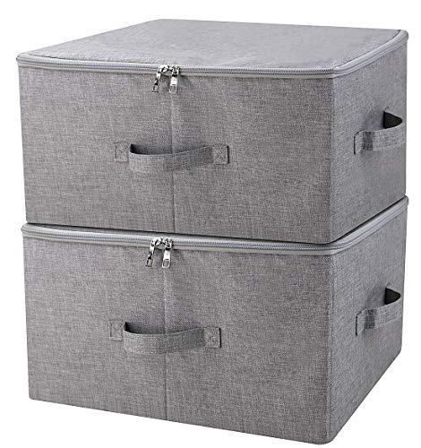 Boîte de rangement pliante avec couvercle à fermeture à glissière et poignées, Panier de rangement avec tissu en lin, séparateurs amovibles pour tiroir à placard, gris foncé, 2 pièces